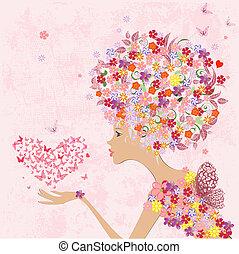 moda, flores, niña, con, un, corazón, de, mariposas