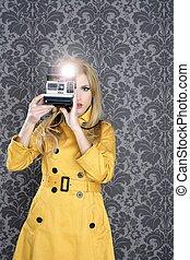 moda, fotógrafo, retro, cámara, reportero, mujer