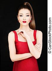 moda, foto, de, jovem, bonito, modelo, mulher, em, vestido vermelho