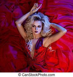 moda, foto, de, jovem, magnífico, mulher, em, vermelho,...