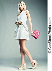 moda, foto, de, jovem, magnífico, woman., menina, com, bolsa
