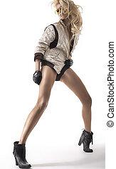 moda, foto, de, loiro, beleza, com, pernas longas