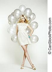 moda, foto, de, mulher bonita, com, balloon., menina, posar