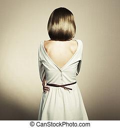 moda, foto, de, um, mulher jovem, com, cabelo loiro