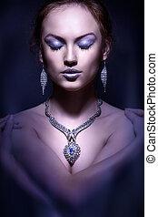 moda, foto, elegante, woman., retrato, estudio