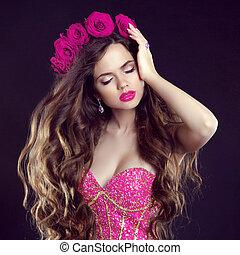 Moda,  G, belleza, labios, Maquillaje, largo, ondulado, pelo, niña,  sensual