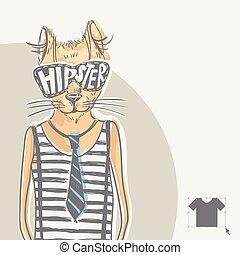 moda, gato, hipster, dibujado, retrato, mano