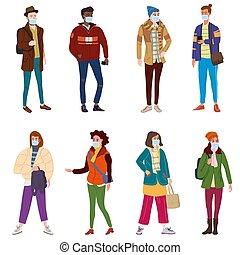 moda, gente, calle, caricatura, moderno, womans, clothes., casual, character., aislado, ilustración, cubrir, individuo, ropa de calle, conjunto, estilo, máscara, plano, moderno, otoño, vapor., vector, protección, médico, joven, virus, niebla tóxica