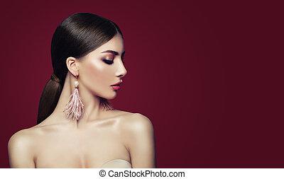 moda, gioielleria, perle, penne, giovane, fondo., donna, orecchini, rosso