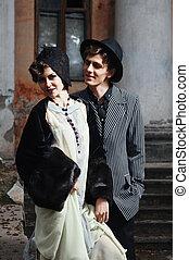 moda, giovane, coppia., retro, disegnato, ritratto
