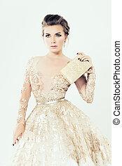 moda, girl., maquilagem, jóia, ouro, vestido, e, embreagem