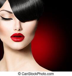 moda, glamour, beleza, menina, com, trendy, franja, penteado