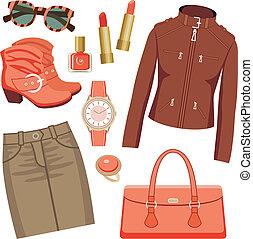 moda, gonna, giacca, set