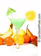 moda, gostosa, azul, drinks., coquetel, concept., isolado, cocktails., tropicais, experiência., laranja, branca, banana, curacao., guarda-chuva, coloridos, pêra, ilustração, fruta, estúdio, excitado, álcool, verde