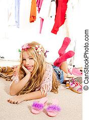 moda, guardarropa, bastidores, víctima, desordenado, niña, niño