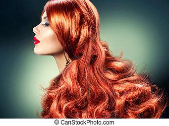 moda, haired vermelho, menina, retrato