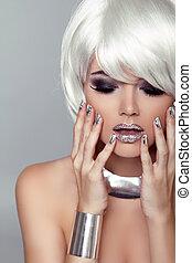 moda, hairstyle., beleza, cinzento, fringe., isolado, experiência., portrait., woman., loura, close-up., menina, rosto, style., voga