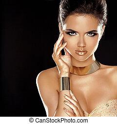 moda, hairstyle., beleza, isolado, makeup., experiência., menina preta, style., voga