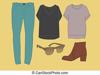 moda, hipster, equipaggiamento