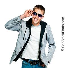 moda, hombre, en, gafas de sol