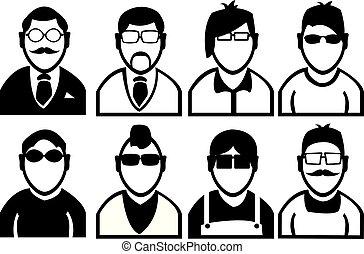 moda, icone, uomini, vettore, nero, bianco