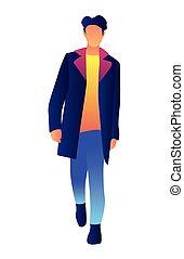 moda, illustration., cappotto, vettore, elegante, modello, maschio, bello