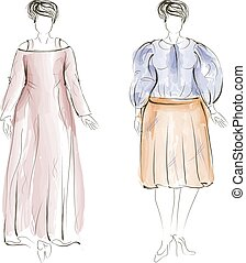 moda, illustration., hand-drawn, vettore, più, model., formato