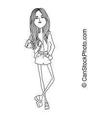 moda, illustration., shorts., modernos, vetorial, menina, abstratos