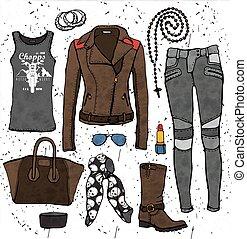 moda, illustration.