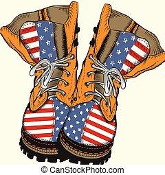 moda, ilustração, nós, botas, militar, bandeira