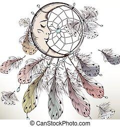 moda, ilustración, tribal, plumas, boho, dreamcatcher