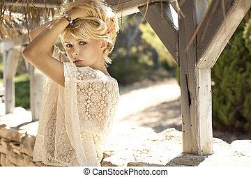 moda, imagen, de, sensual, rubio, niña