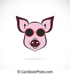 moda, immagine, maiale, fondo., vettore, bianco, occhiali
