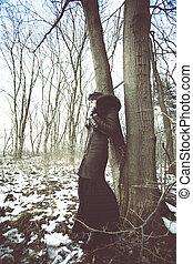 moda, in, inverno, legno