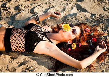 moda, in, sabbia