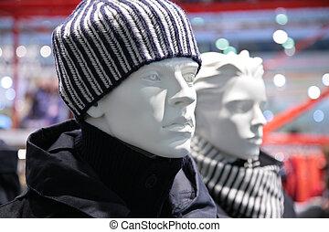 moda, indossatrice, negozio, uomo