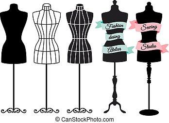 moda, indossatrici, vettore, set