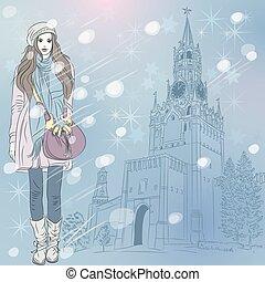 moda, inverno, mosca, vettore, cityscape, ragazza, natale