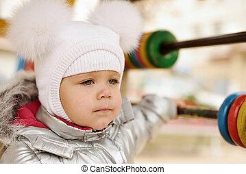moda, invierno, niña