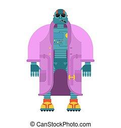 moda, isolated., chamarra, cyborg, robot, ilustración, vector, topcoat.