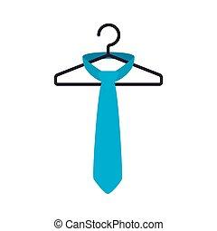 moda, isolato, gancio, appendere, cravatta, maschio, icona