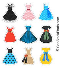 moda, jogo, retro, vestidos