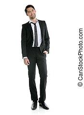moda, jovem, elegante, comprimento, cheio, terno preto,...