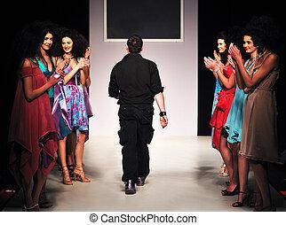moda, joven, diseñador, etapa