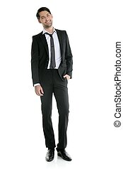 moda, joven, elegante, longitud, lleno, juego negro, hombre