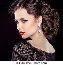 Moda, Joyas, Plano de fondo, aislado, elegante, morena, retrato, negro, modelo, dama, peinado