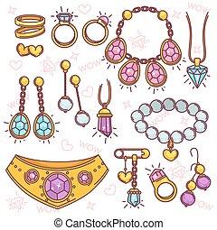 moda, joyas, vector, set.