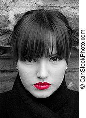 moda, lábios, pretas, retrato, modelo, branco vermelho