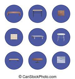 moda, legno, caffè, e, capezzale, tavoli, set