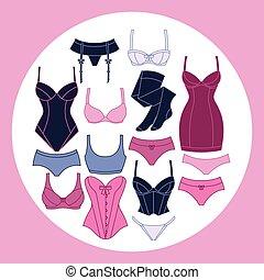 moda, lenceria, plano de fondo, diseño, con, hembra,...
